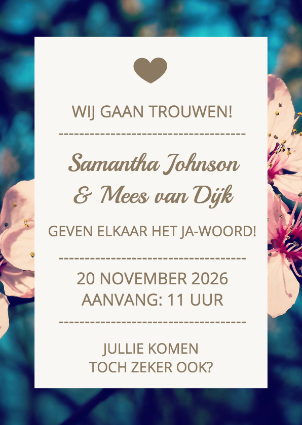 Trouwkaarten - Blossom typo wedding - DH