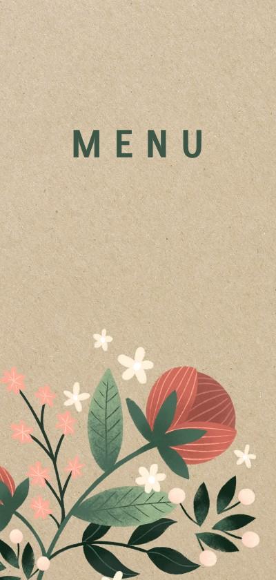 Trouwkaarten - Botanische menukaart met bloemen, planten en kraftlook