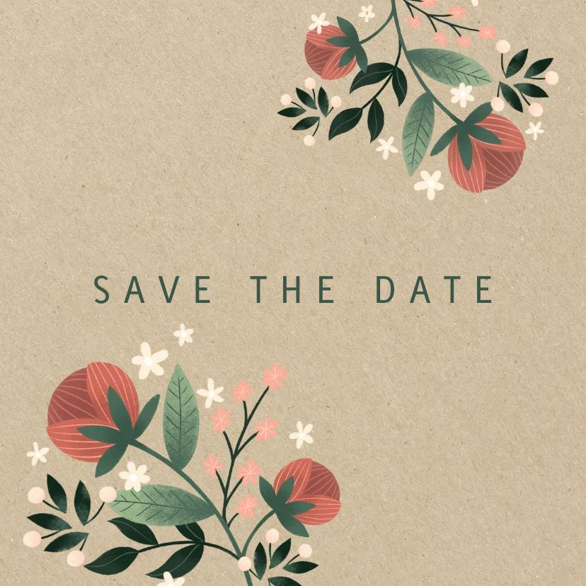 Trouwkaarten - Botanische save the date kaart met bloemen, planten en kraft