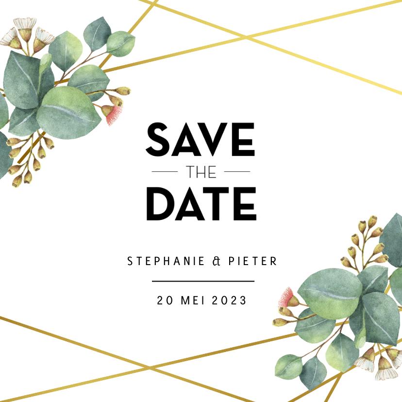 Trouwkaarten - Botanische save the date kaart