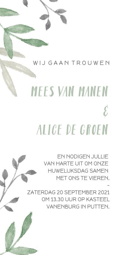 Trouwkaarten - Botanische trouwkaart met groene en grijze takjes