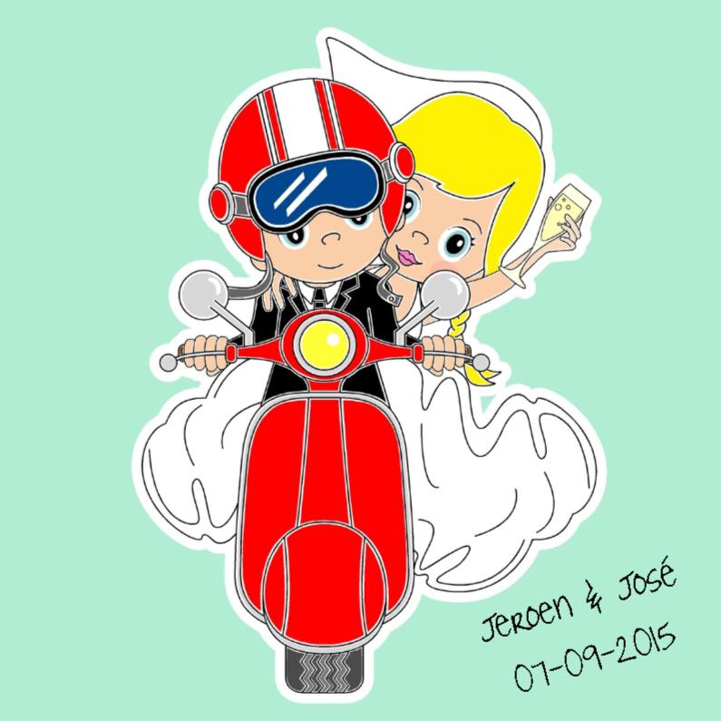Trouwkaarten - Bruidspaar op rode scooter
