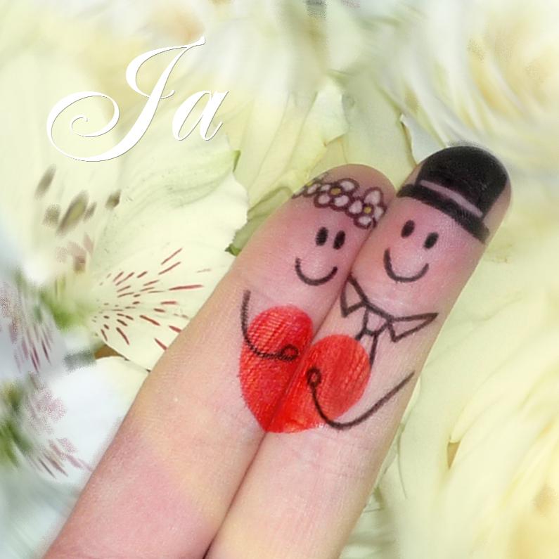 Trouwkaarten - Bruidspaar vingerpopjes trouwkaart rozen