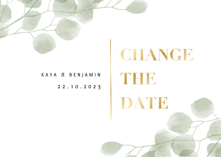 Trouwkaarten - Change the date kaart waterverf eucalyptus en typografie
