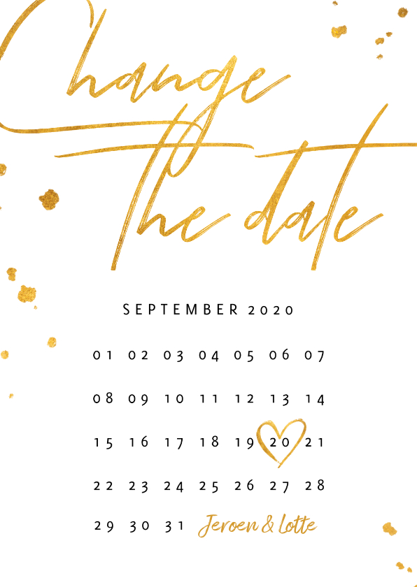 Trouwkaarten - Change the date kalender goud stijlvol
