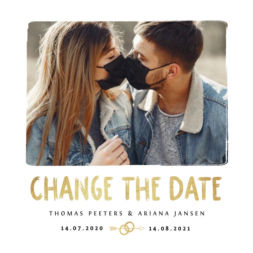 Trouwkaarten - Change the date trouwkaart goud foto tijdlijn