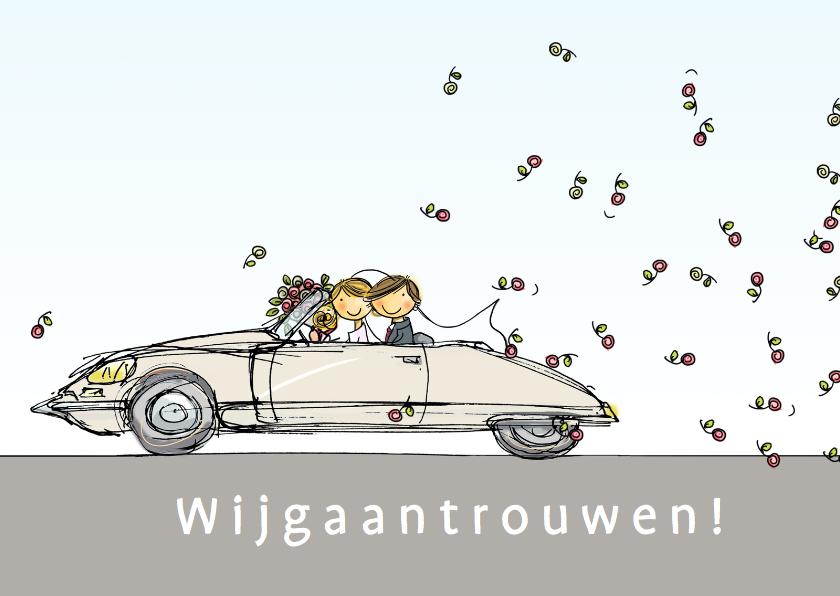 Trouwkaarten - Citroen DS beige Anet Illustraties