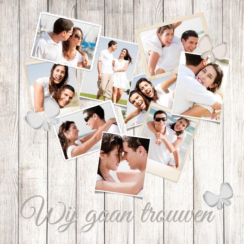 Trouwkaarten - Collage hout hart 10 foto's - BK