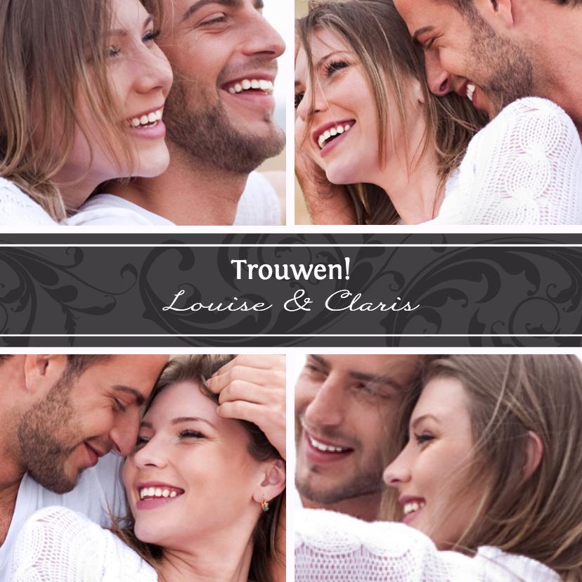 Trouwkaarten - Collage Trouwen 4 foto's - BK