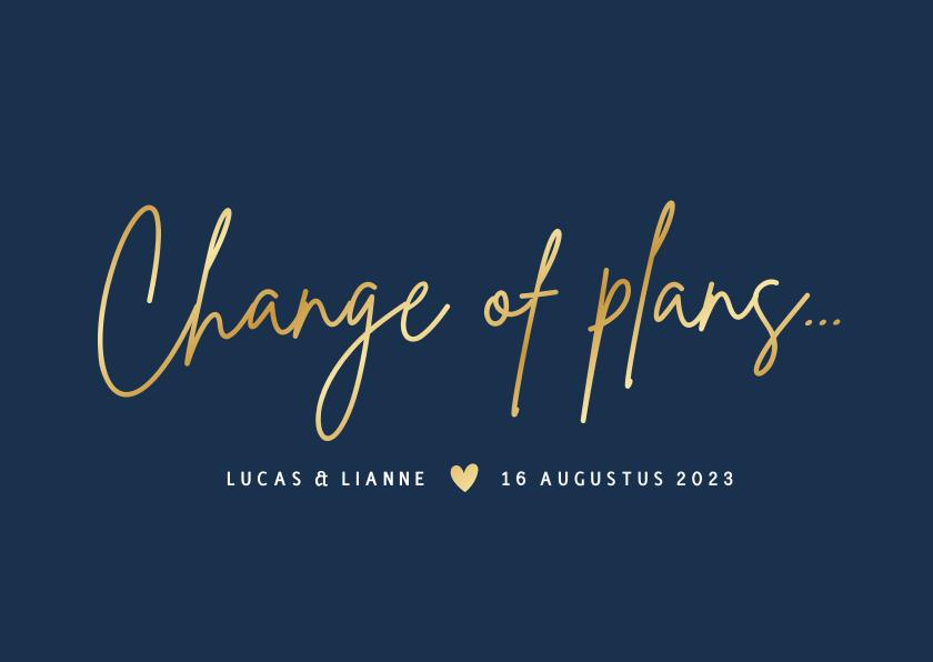 Trouwkaarten - Corona wijzigingskaart trouwdatum - change of plans