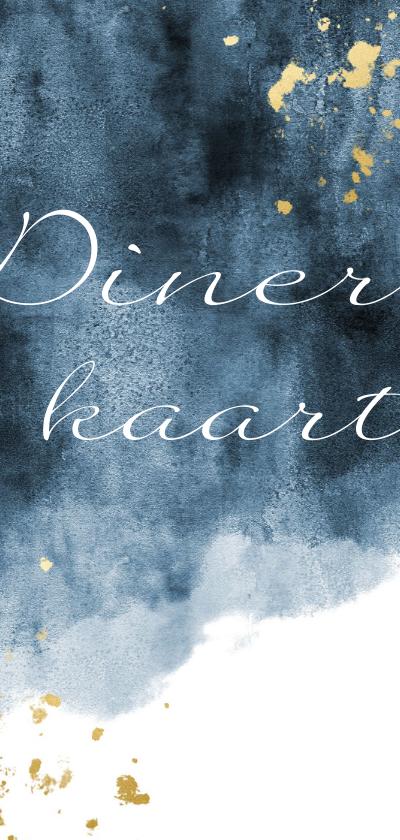 Trouwkaarten - Dinerkaart blauwe waterverf gouden spetters