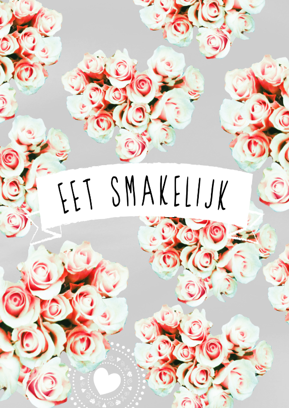 Trouwkaarten - Eet smakelijk rozen harten -rh