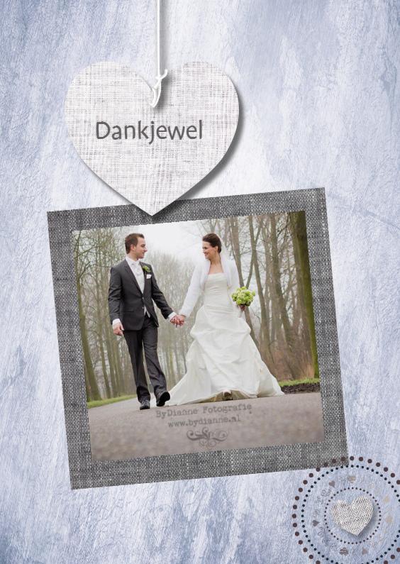 Trouwkaarten - Eigen tekst & foto harten print