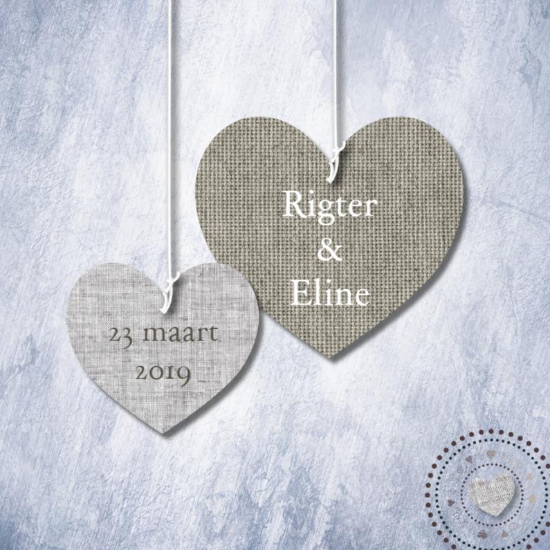 Trouwkaarten - Eigen tekst print stoffen harten