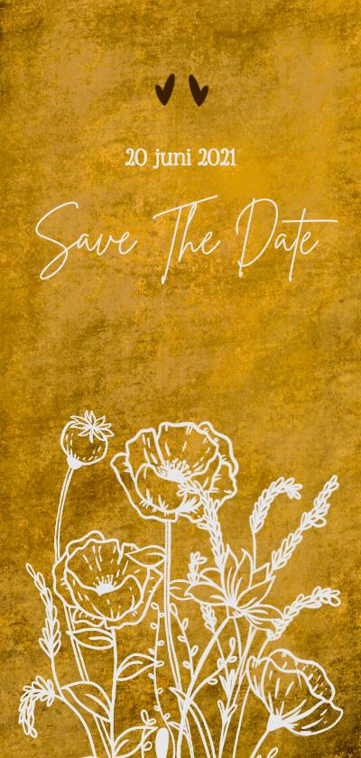 Trouwkaarten - Eigentijdse save the date kaart voor bruiloft wilde bloemen