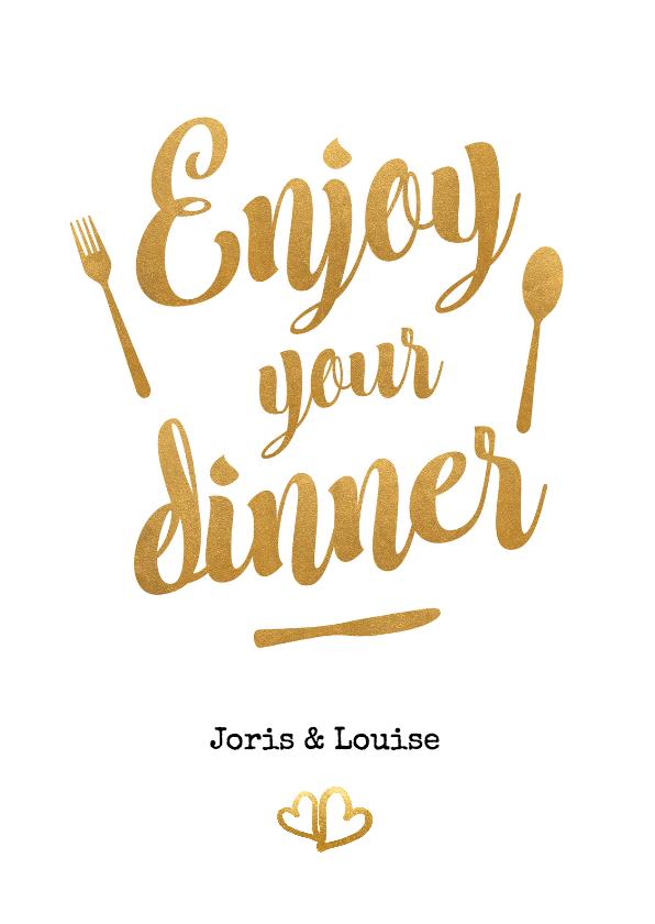 Trouwkaarten - Enjoy your dinner goud - BK