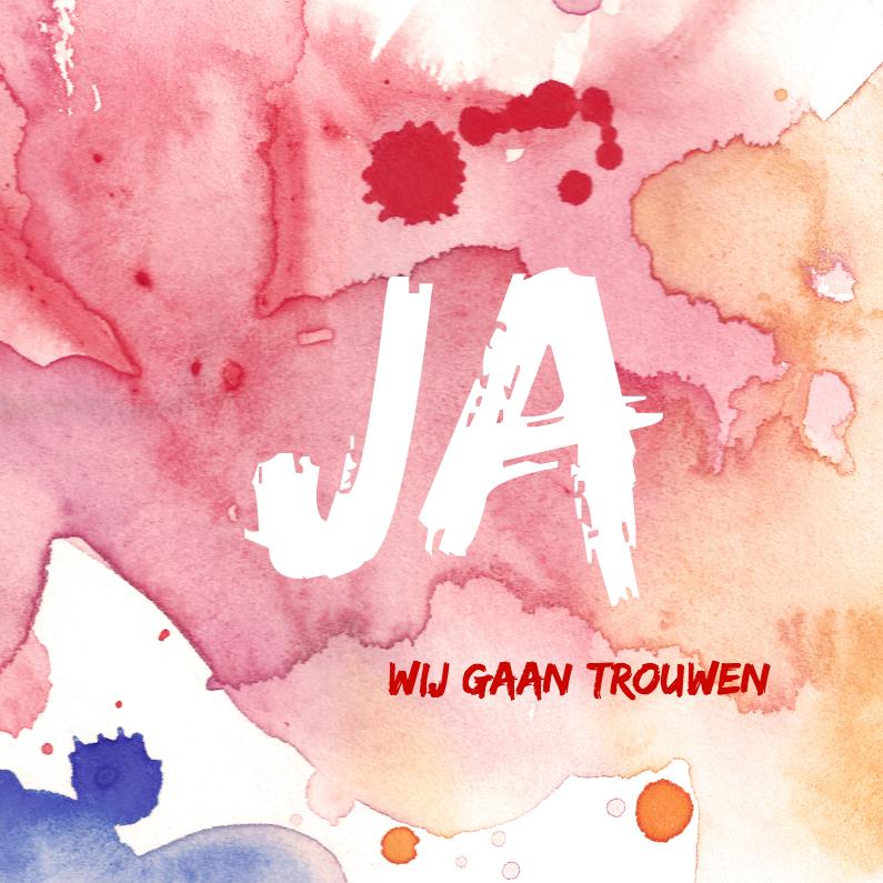Trouwkaarten - Expressieve trouwkaart aquarel