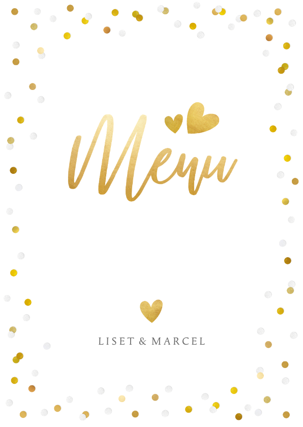 Trouwkaarten - Feestelijke menukaart trouwen met confetti en goud