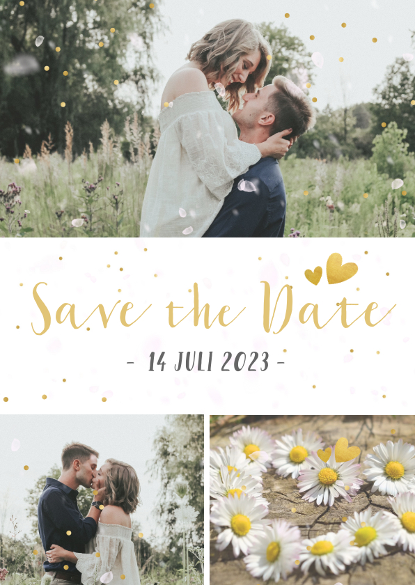 Trouwkaarten - Feestelijke Save the Date kaart met 3 foto's en confetti