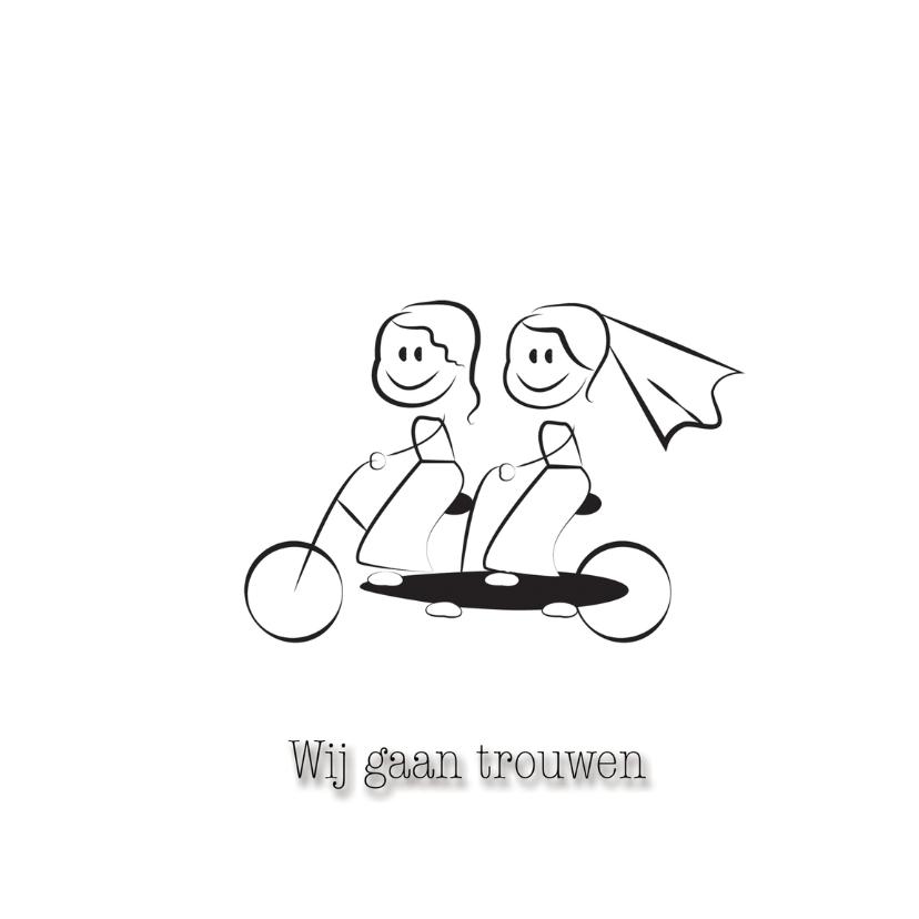Trouwkaarten - fietsende bruidjes
