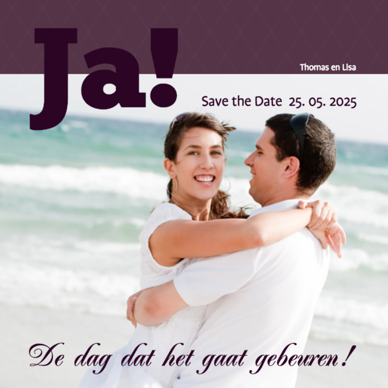 Trouwkaarten - Foto 4kant Ja!Save the Date - BK