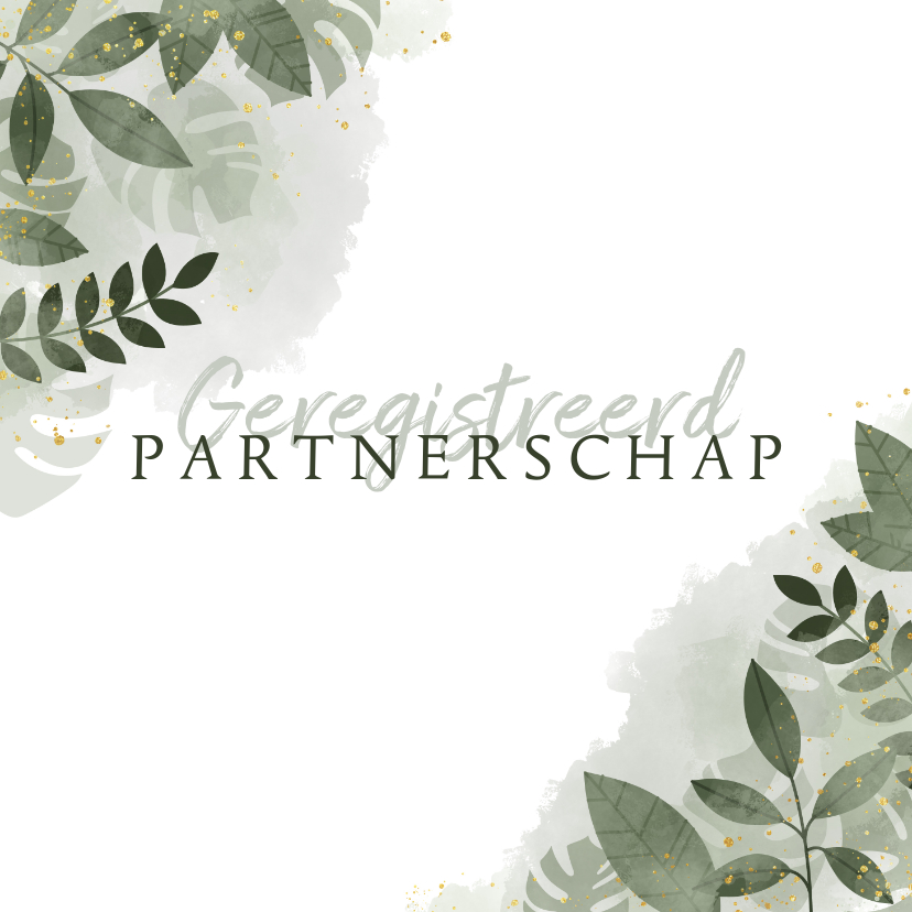 Trouwkaarten - Geregistreerd partnerschap botanisch & waterverf trouwkaart