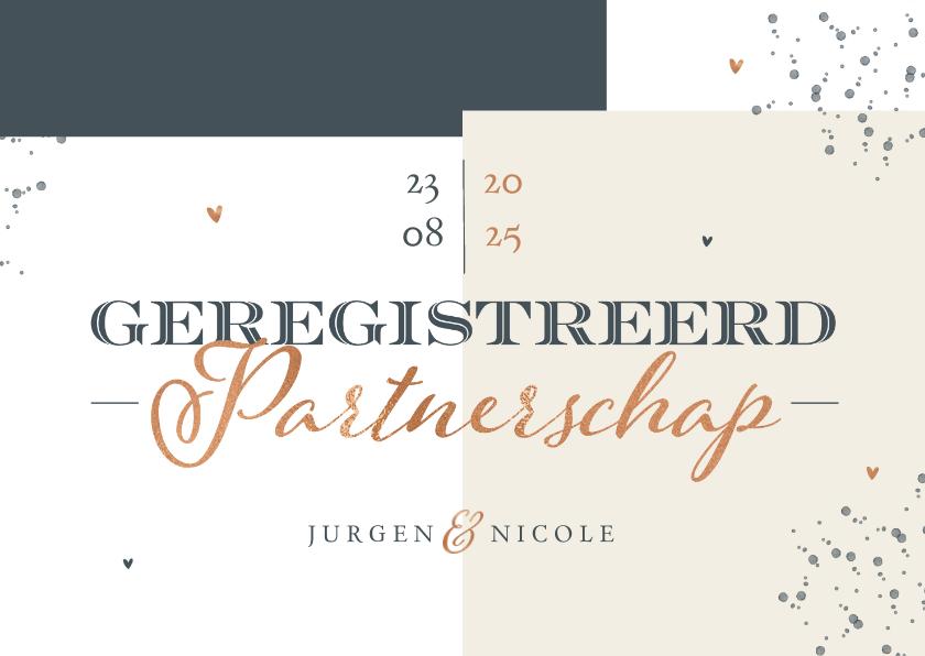 Trouwkaarten - Geregistreerd partnerschap stijlvol modern grafisch