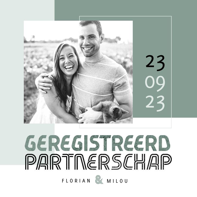 Trouwkaarten - Geregistreerd partnerschap uitnodiging feest modern stijlvol