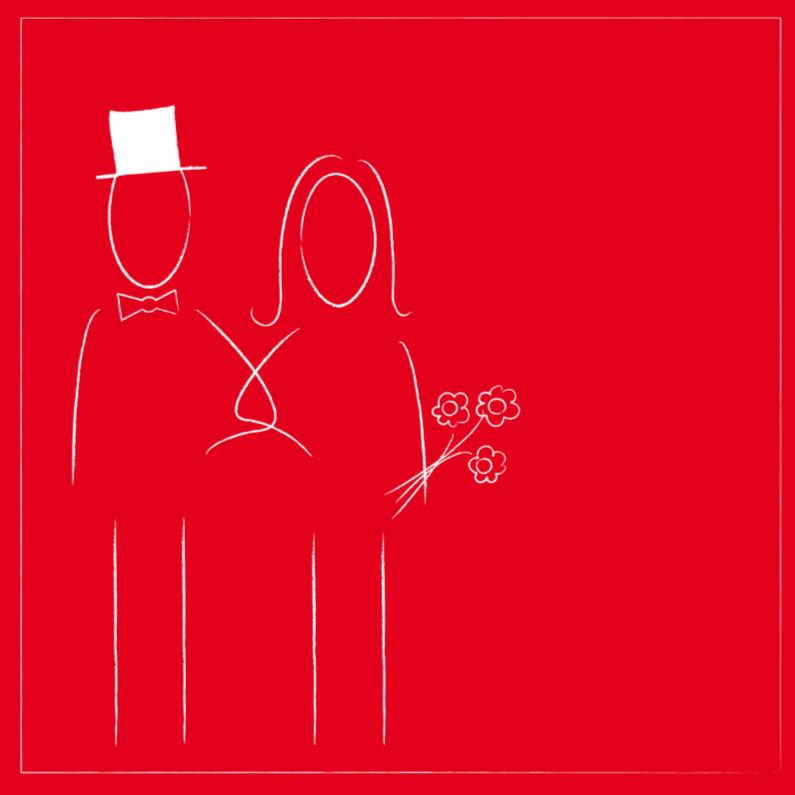 Trouwkaarten - Getekende bruid en bruidegom