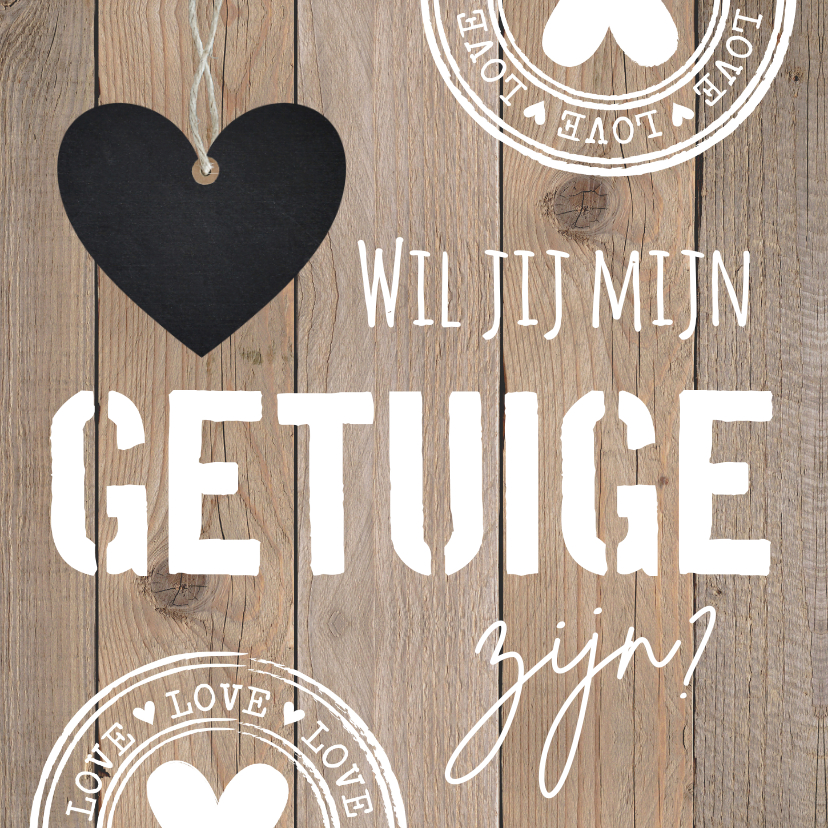 Trouwkaarten - Getuigekaart typografie houtprint hartje