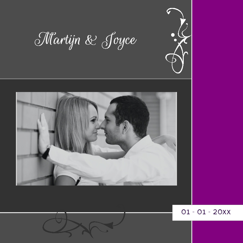 Trouwkaarten - Grijspaarse foto trouwkaarten