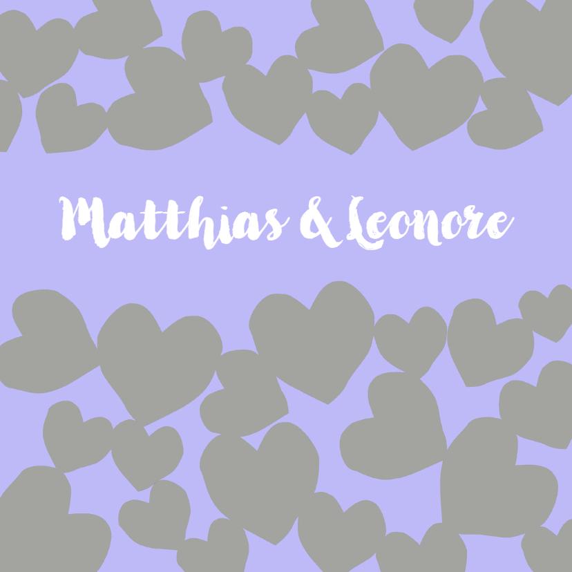 Trouwkaarten - Hart patroon lila grijs