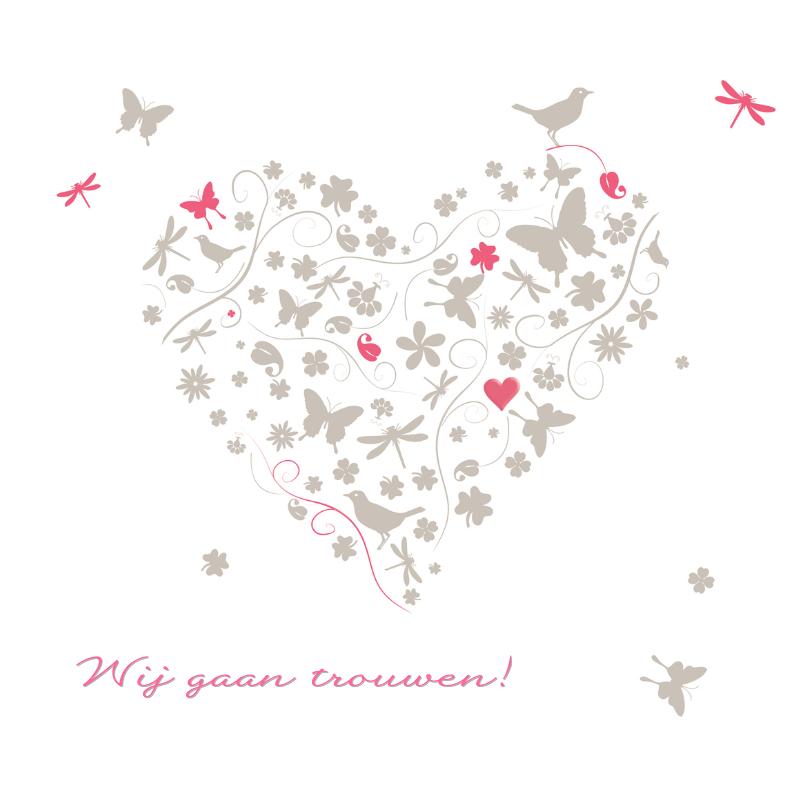 Trouwkaarten - Hart uit elementen oud roze