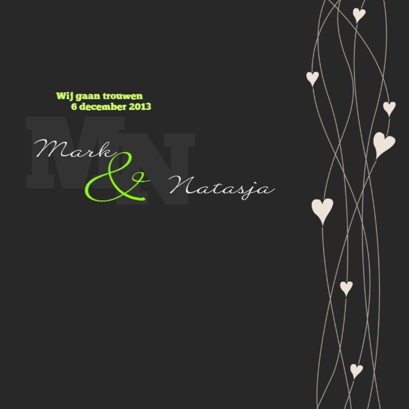 Trouwkaarten - Hearts on strings