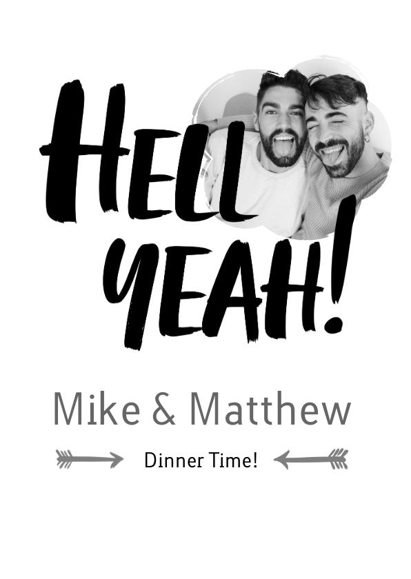 Trouwkaarten - Hell Yeah - een stoere menu kaart voor trouwfeest met foto