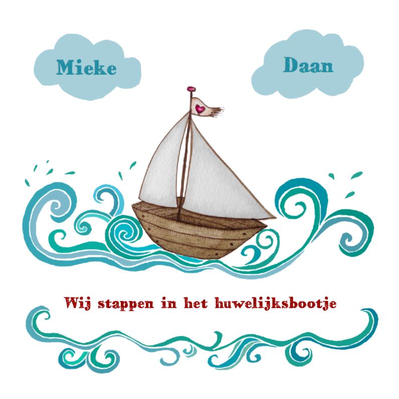 Trouwkaarten - Huwelijksboot op golven