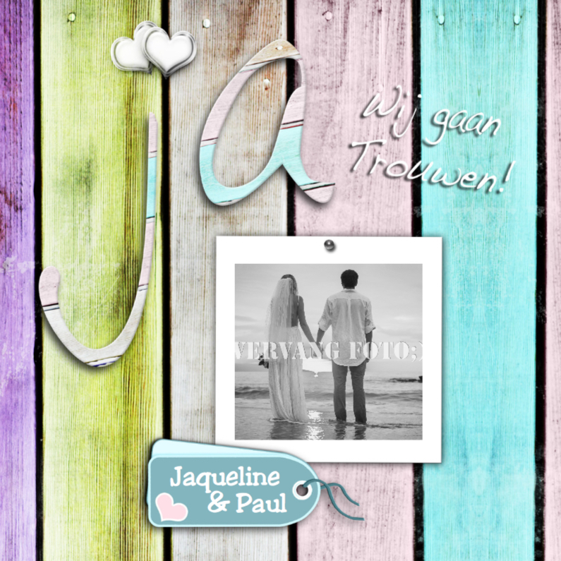 Trouwkaarten - Ja kleur hout foto en harten