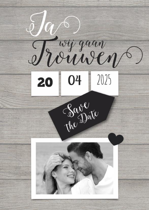 Trouwkaarten - Ja, wij gaan trouwen met foto trouwkaart
