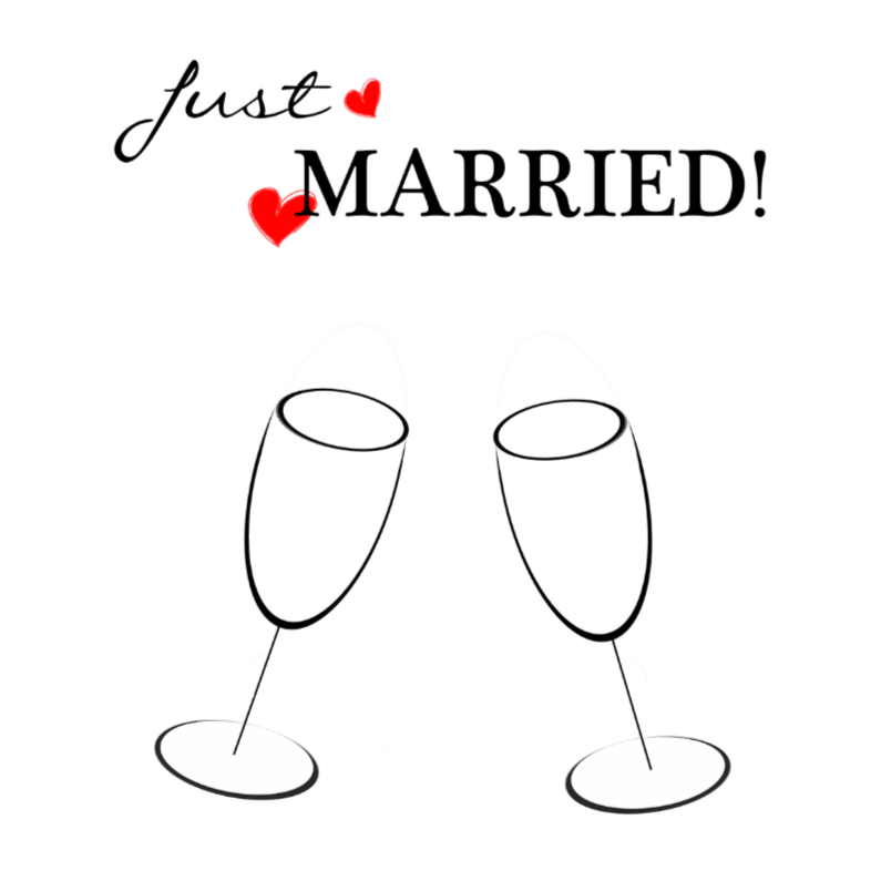 Trouwkaarten - just married black white red