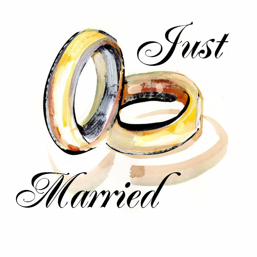 Trouwkaarten - Just married met ringen