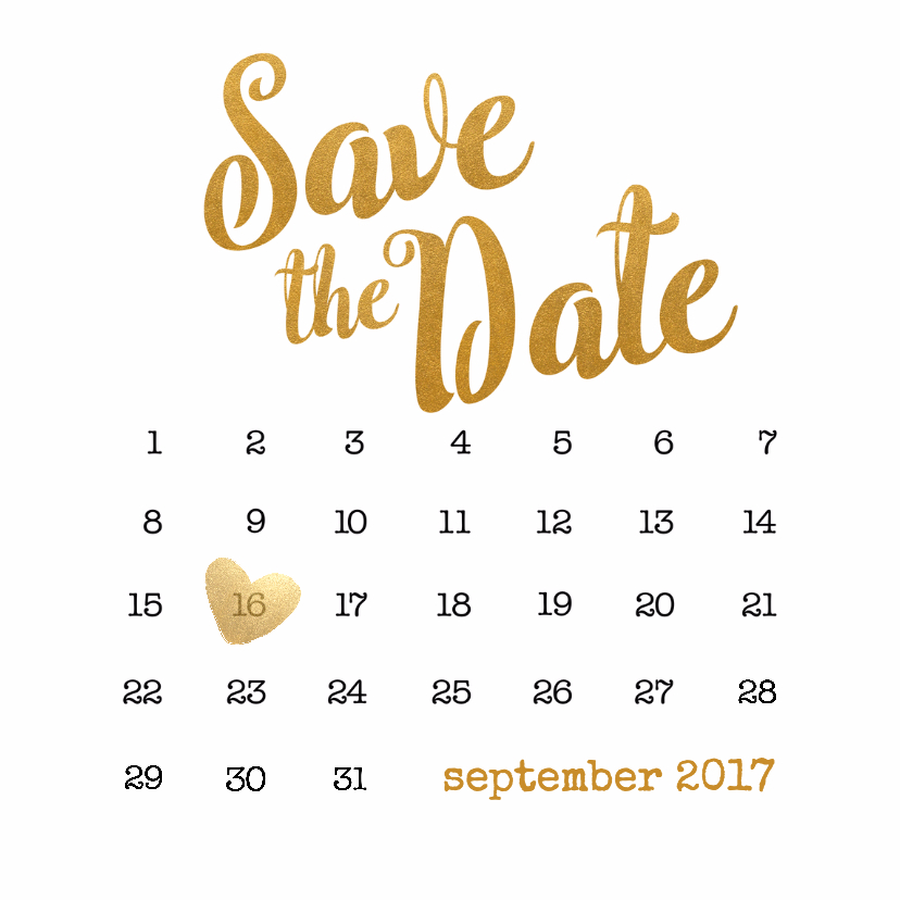 Trouwkaarten - Kalender goud Save the Date - BK