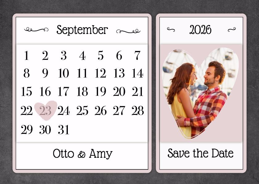 Trouwkaarten - Kalender krijt - BK