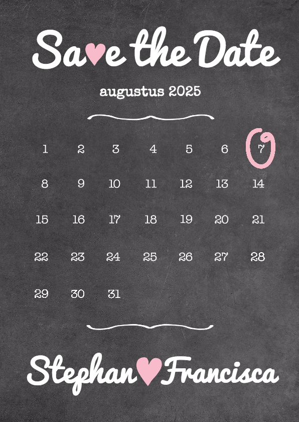Trouwkaarten - Kalender krijt Save The Date