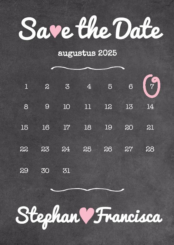 Trouwkaarten - Kalender krijt SaveTheDate - BK