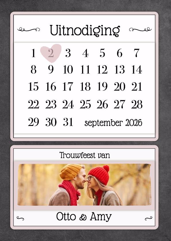 Trouwkaarten - Kalender krijt uitnodiging - BK