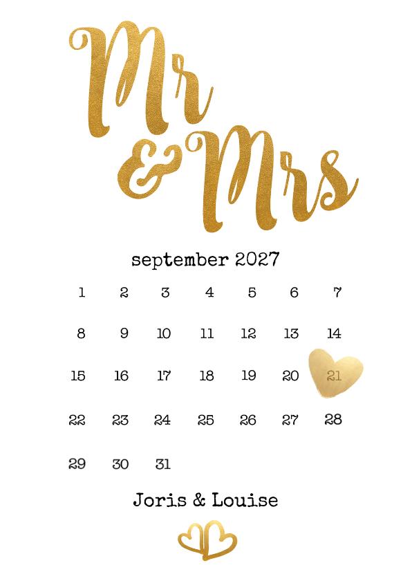 Trouwkaarten - Kalender Mr & Mrs goud - BK