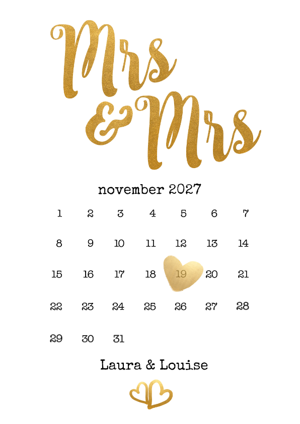 Trouwkaarten - Kalender Mrs & Mrs goud - BK