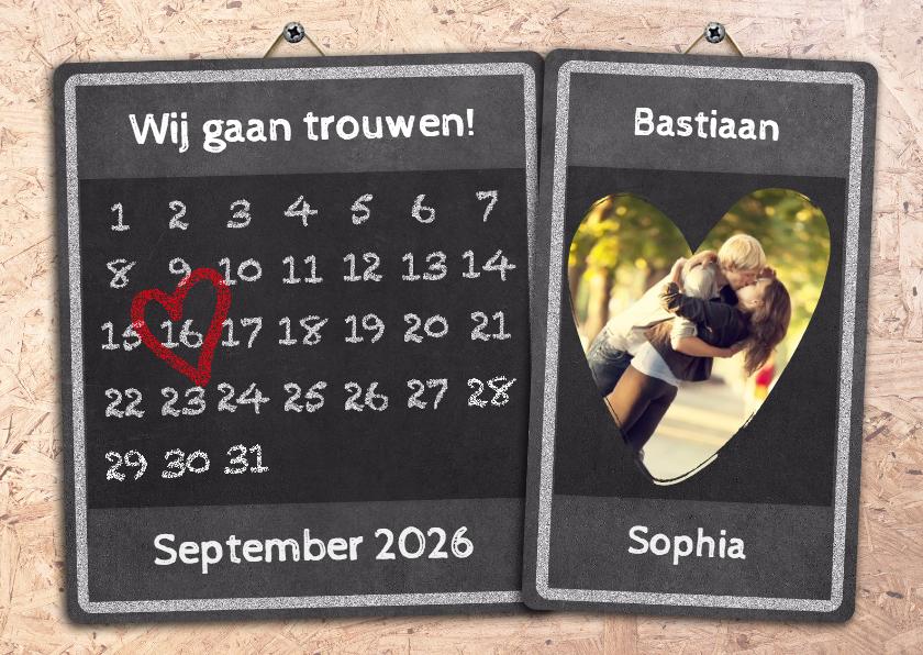 Trouwkaarten - Kalender OSB krijtbord - BK