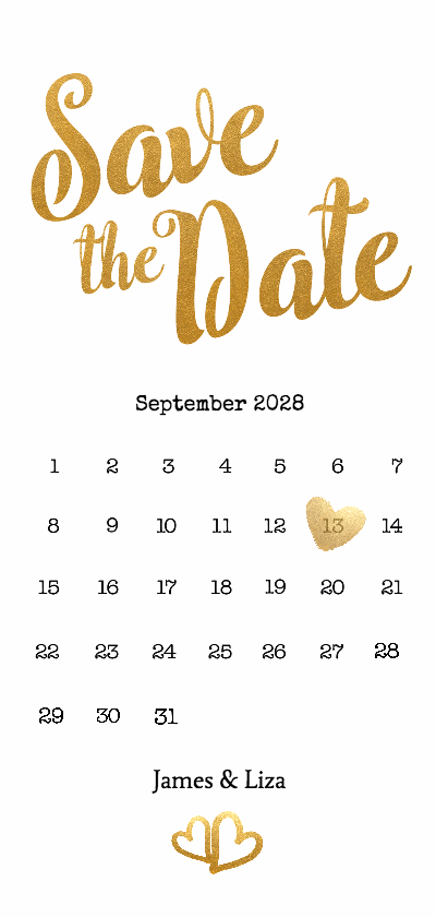 Trouwkaarten - Kalender Save the Date goud langwerpig - BK