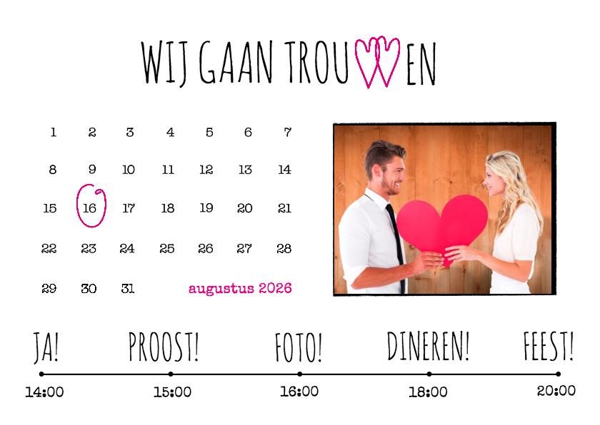 Trouwkaarten - Kalender trouwen wit - BK